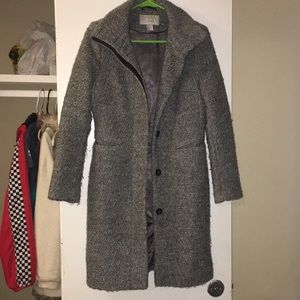 H & M Grey wool blend long coat